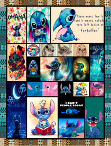 Lilo and Stitch Ohana Means Family Blanket Funny Birthday Gift For Wife Dad Mom