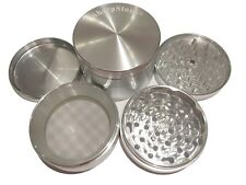 "SharpStone® 3.0"" Inch 4pc Hard Top Herb Tobacco X-Large Silver Grinder + Extras!"