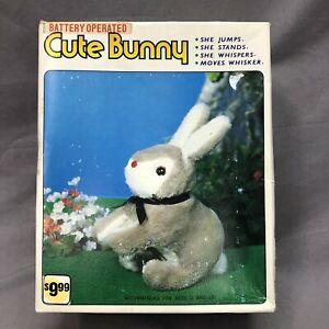 VINTAGE BATTERY OPERATED CUTE BUNNY GRAY MADE IN KOREA TESTED WORKING