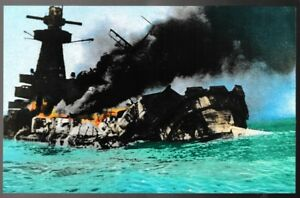 German battleship Admiral Graf Spee Scuttled WWII postcard