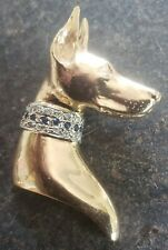 14k Yellow Gold Doberman with Diamonds and Sapphires Pendant Originals by Omar