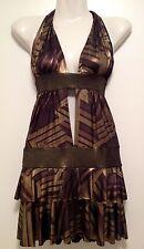 Women's ICE Bronze/ Gold Split-Front Backless Clubwear Mini Dress NEW Small 8-10