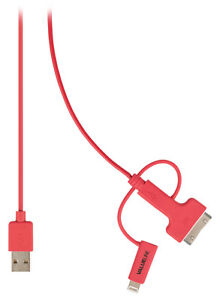 USB Charger Sync Cable Certified by Apple USB Red FREE DELIVERY