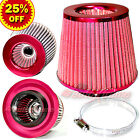 "3"" 76mm Inlet HIGH FLOW Short Ram Cold Air Intake ROUND Cone MESH Filter RED"