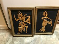 VINTAGE Pair of Hand-Crafted ASIAN STRAW ART