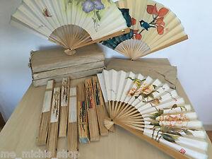 10x Handfächer Taschenfächer Holz Papier Fächer Deko
