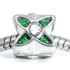 Clear Rhinestone Green Enamel Flower Spacer Bead fits European Charm Bracelets
