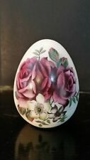 "Bisque egg, 3 3/4"" H, Purple Roses& Cherry Blossom Flower"