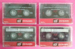 Lotto 4 MC Musicassette SONY HF 90 hf90 Compact Cassette Tape USATA no agfa tdk