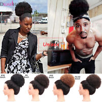 Women Afro Curly Puff Ponytail Synthetic Clip In Drawstring Bun Hair Extensions