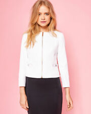 WOMENS Ted Baker Ione Textured Cropped Bow Jacket Ivory Dress Size 2 UK 10 EU 38