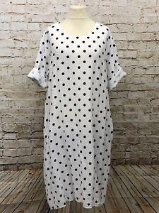 Tunika Kleid Baumwolle gepunktet Lagenlook Long Übergröße 46 48 50 Neu weiß