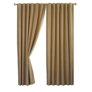 Camel/Beige Thermal  Velour Ready Made Blackout Curtains Pencil Pleat  Lined