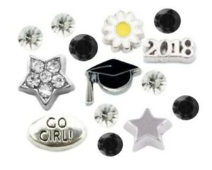 Floating Charms Graduate Graduation 2018 Cap Star 14pc for Floating Lockets