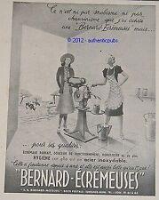 PUBLICITE BERNARD ECREMEUSES MOTEURS LAIT VACHE DE 1946 FRENCH AD ADVERT PUB