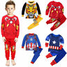 Kids Boy Girl Pajamas Outfit Superhero T-shirt Top Pants Sleepwear Nightwear Set