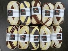 Eylul knitting / crochet chunky yarn in grey, brown, yellow & cream. 10 x 100g.
