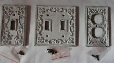 Cast iron switch plate set of 3 antique white outlet plate cottage fleur de lis