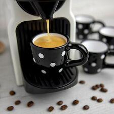 Handmade Black and WhitePolka Dot Unique Ceramic Espresso Coffee Cup & Saucer