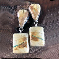 Women Silver plated Jewelry Earrings Handmade White Turquoise Dangle Hook
