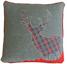 Tartan Stag 18 Inch Red & Grey Cushion Cover Soft Woven Tweed Wool Fabric