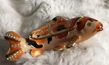 Vintage Jeweled Koi Fish Trinket Box Enameled Black Orange Gold Hinged Figurines