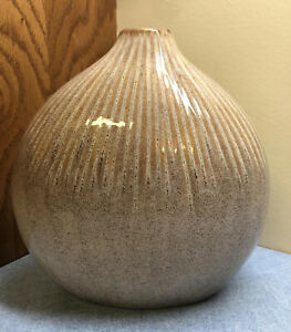 "Pottery Myanmar Vase  Earth Tones Tan slightly ribbed 8.5"" tall"