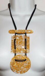 Sobral Classicos 3 Tempos Gold Metallique Large Pendants Necklace Brazil Import