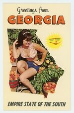 GA. Empire State of the South. PRETTY LADY AND PEACHES. Chrome Postcard