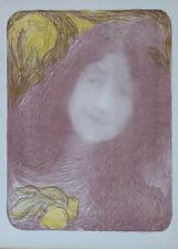 """Edmond-Francois Aman-Jean """"Sous Les Fleurs"""" Original Lithograph"""