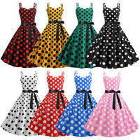 Vintage Women Polka Dot Strap Retro 1950s Swing Rockabilly Cocktail Party Dress
