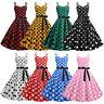 Vintage Women Polka Dot Strap Retro 1950s Swing Rockabilly Cocktail Party Dress