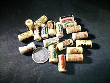 3 Peruvian 15x7mm Hand Painted Colorful Barrel Shaped Beads