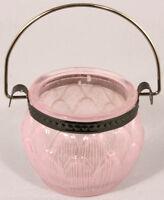 Elegant Glass TEALIGHT HOLDER ~ ~ ~ hanging handle hook tea light candle pastel