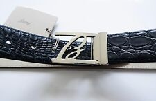 $2250 NEW BRIONI Blue Crocodile Alligator Leather Belt Size 36 US 52 Euro 90 CM