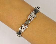 Vintage 14k White Gold Diamond Black Star Sapphire Modernist Bracelet