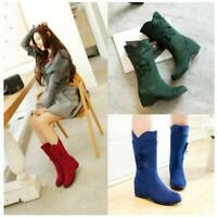 Womens Hidden Wedge Heel Mid Calf Boots Floral Pull On Sweet Suede Casual Shoes
