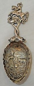 Vintage Repousse Silver St. George Slaying Dragon Decorative Spoon