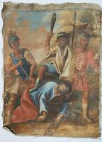 Altes Heiligenbild Gemälde Kreuzweg Jesus wird geschlagen
