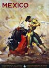 "Vintage Illustrated Travel Poster CANVAS PRINT Mexico Bull Fight 8""X 12"""