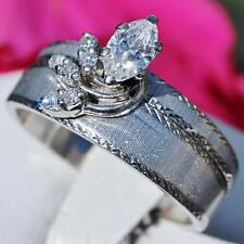 Fiancee handmade 14k white gold 0.75ct FVVS2 diamond size 8.75 wedding set 6.5g