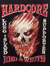Hardcore Red & White Supporter Long Island Hells Angels Sweatshirt Mens Large L