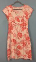 White Stuff Cream Red Floral Linen Twist Front Dress Size 10 - B42