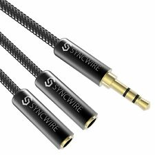 Syncwire Headphone Splitter Nylon-Braided Stereo Audio Jack Splitter Cable