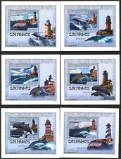 {130} Mozambique 2007 Dolphins Lighthouses 6 S/S Deluxe MNH**