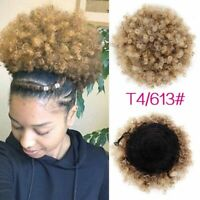 9Color Synthetic Short Afro Kinky Curly Hair Ponytail String Puff Hair Extension