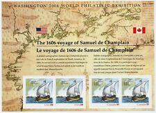 Weeda Canada 2156 VF MNH S/S of 4, USA joint issue Samuel Champlain 2006 CV $10