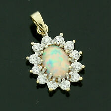 9ct Yellow Gold Synthetic Opal and White Cubic Zirconia Pendant - For Her