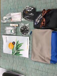 lufthansa Jil Sander Navy Blue And Grey Amenities Bag Plus Buisness Class Menu