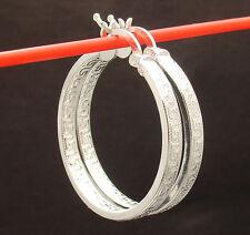 """1 1/4"""" Inside Out Greek Key Hoop Earrings Real 925 Sterling Silver 4.5gr 30mm"""